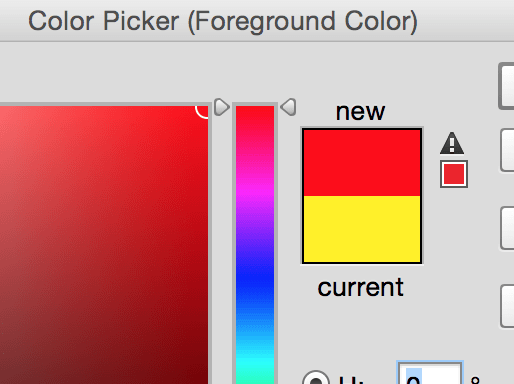 Photoshop InDesign Color Picker Out-of-Gaumt Warning