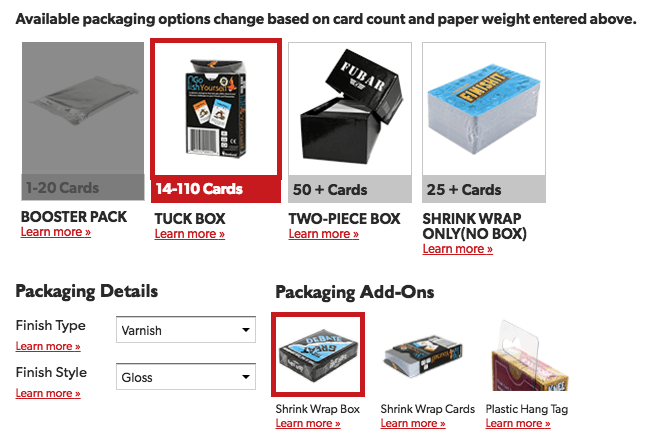 Poker Card Packaging Selection